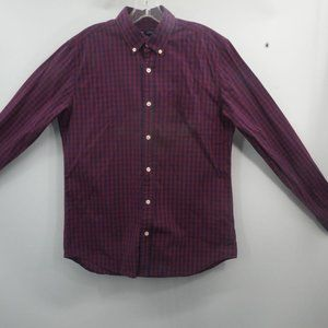 Gap Red Navy Multicolor Check Long Sleeve Button S